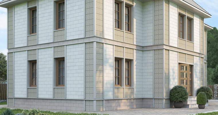 Дом, облицованный блоками Теплокам